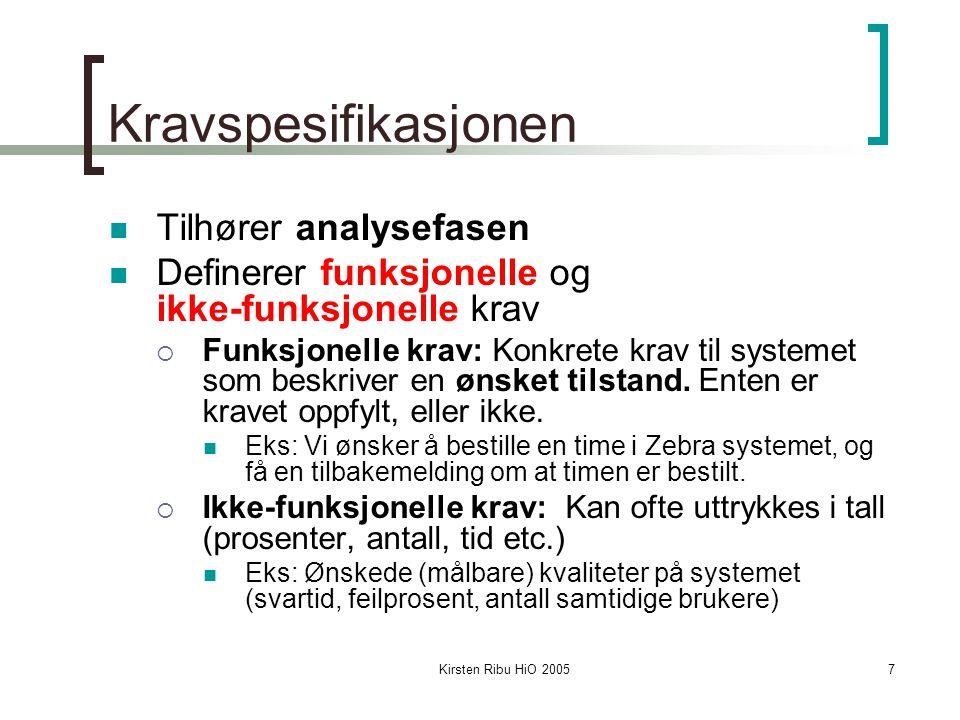 7 Kravspesifikasjonen Tilhører analysefasen Definerer funksjonelle og ikke-funksjonelle krav  Funksjonelle krav: Konkrete krav til systemet som beskr