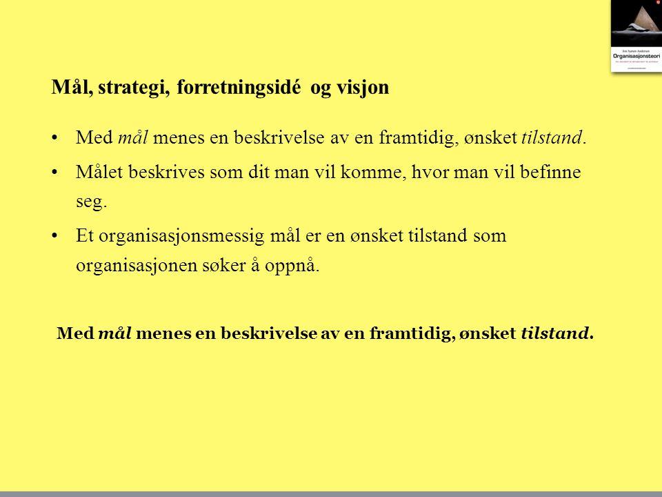 Mål, strategi, forretningsidé og visjon Med mål menes en beskrivelse av en framtidig, ønsket tilstand. Målet beskrives som dit man vil komme, hvor man