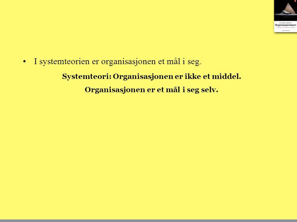 I systemteorien er organisasjonen et mål i seg. Systemteori: Organisasjonen er ikke et middel. Organisasjonen er et mål i seg selv.
