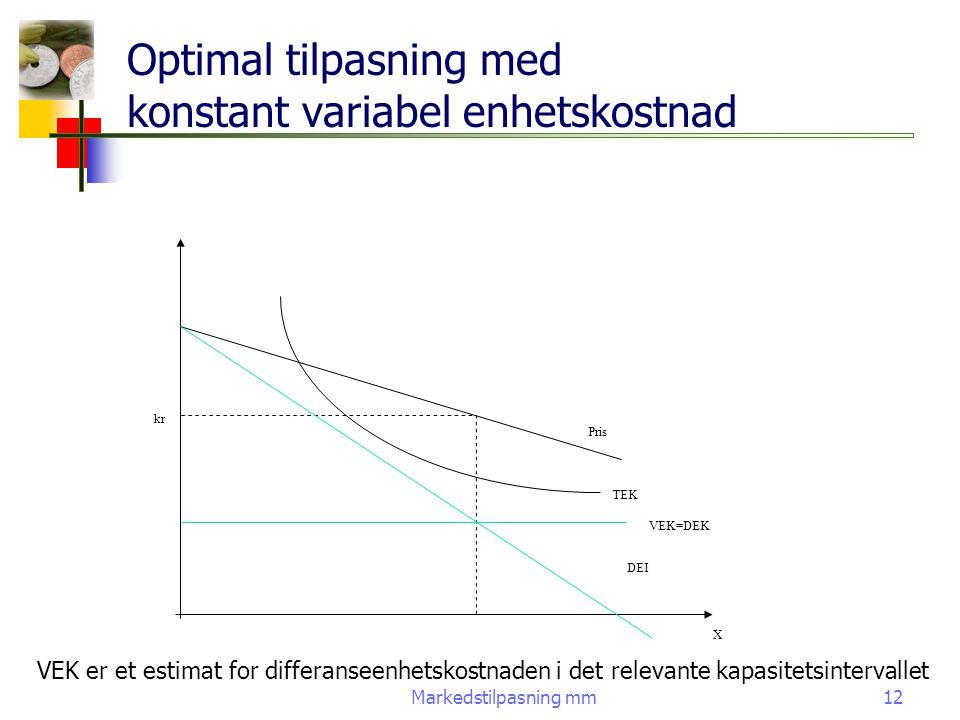 Markedstilpasning mm12 Optimal tilpasning med konstant variabel enhetskostnad Pris TEK VEK=DEK DEI X kr VEK er et estimat for differanseenhetskostnade