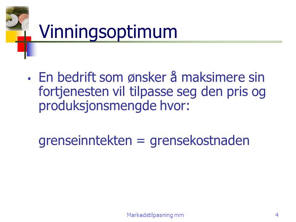 Markedstilpasning mm4 Vinningsoptimum  En bedrift som ønsker å maksimere sin fortjenesten vil tilpasse seg den pris og produksjonsmengde hvor: grense