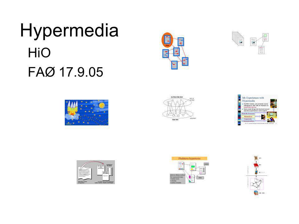 Struktureringsparadigmer (ii) Verktøy for å synliggjøre det lineære: –Enkel tekstbehandling –Presentasjonsprogramvare (Power Point) Verktøy for å synliggjøre det romlige –Tekstbehandling med linker –Bilde- og multimedieverktøy –Programvare for å fremstille hypertekst Storyspace, hypercard, front page, netscape composerStoryspacehypercardfront pagenetscape composer surfe gir følelse av stedsforflytning, ikke tidsforflytning