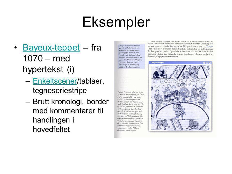 Eksempler Bayeux-teppet – fra 1070 – med hypertekst (i)Bayeux-teppet –Enkeltscener/tablåer, tegneseriestripeEnkeltscener –Brutt kronologi, border med kommentarer til handlingen i hovedfeltet