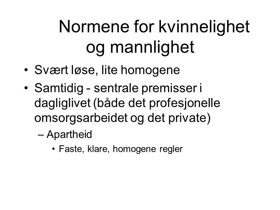 Normene for kvinnelighet og mannlighet Svært løse, lite homogene Samtidig - sentrale premisser i dagliglivet (både det profesjonelle omsorgsarbeidet o