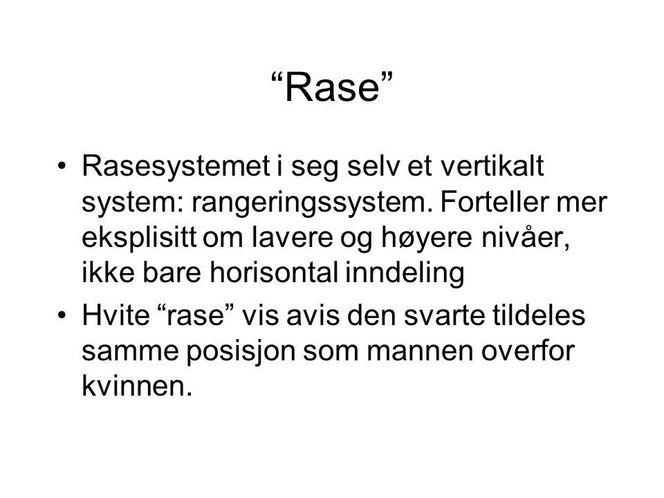 """""""Rase"""" Rasesystemet i seg selv et vertikalt system: rangeringssystem. Forteller mer eksplisitt om lavere og høyere nivåer, ikke bare horisontal inndel"""
