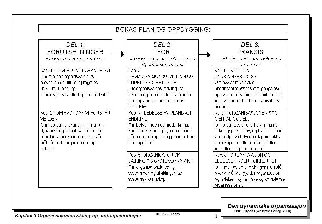 © Eirik J. Irgens Den dynamiske organisasjon Eirik J. Irgens (Abstrakt Forlag, 2000) Kapittel 3 Organisasjonsutvikling og endringsstrategier 1