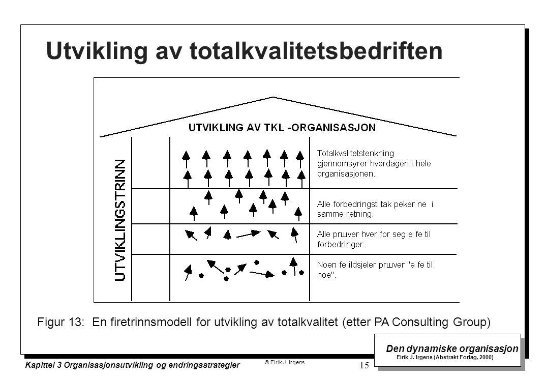 © Eirik J. Irgens Den dynamiske organisasjon Eirik J. Irgens (Abstrakt Forlag, 2000) Kapittel 3 Organisasjonsutvikling og endringsstrategier 15 Utvikl