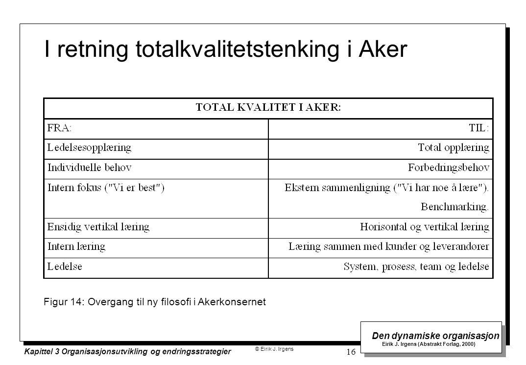 © Eirik J. Irgens Den dynamiske organisasjon Eirik J. Irgens (Abstrakt Forlag, 2000) Kapittel 3 Organisasjonsutvikling og endringsstrategier 16 I retn
