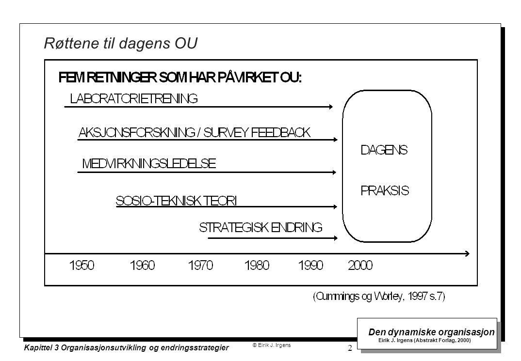 © Eirik J. Irgens Den dynamiske organisasjon Eirik J. Irgens (Abstrakt Forlag, 2000) Kapittel 3 Organisasjonsutvikling og endringsstrategier 2 Røttene