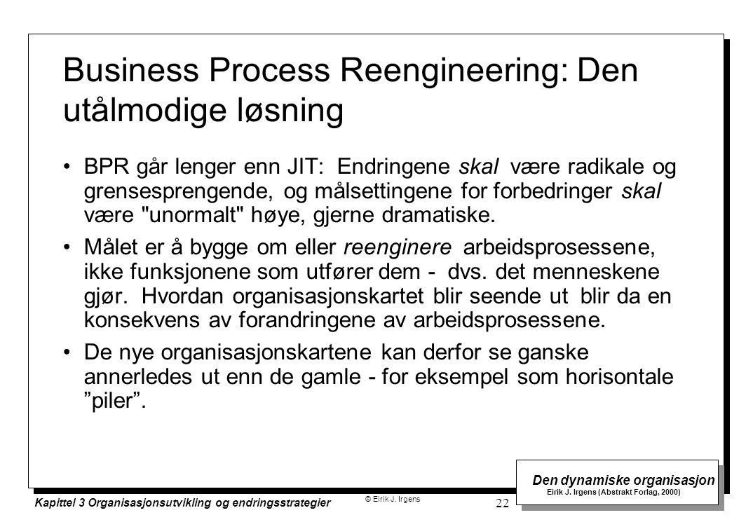 © Eirik J. Irgens Den dynamiske organisasjon Eirik J. Irgens (Abstrakt Forlag, 2000) Kapittel 3 Organisasjonsutvikling og endringsstrategier 22 Busine