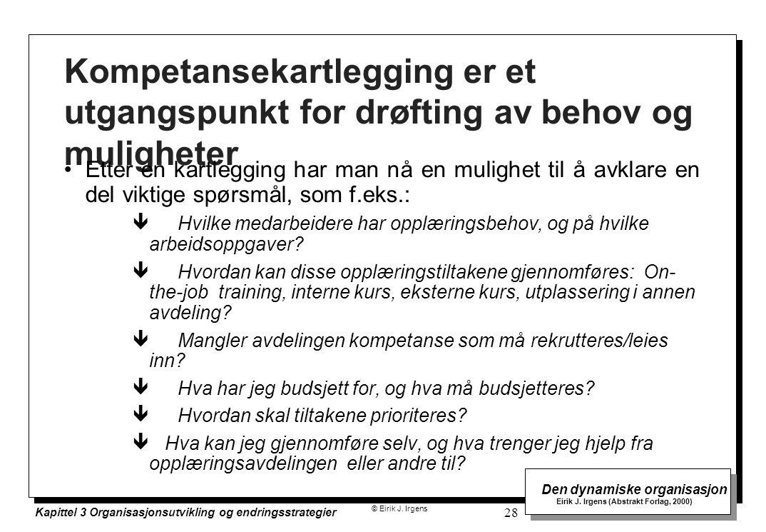 © Eirik J. Irgens Den dynamiske organisasjon Eirik J. Irgens (Abstrakt Forlag, 2000) Kapittel 3 Organisasjonsutvikling og endringsstrategier 28 Kompet