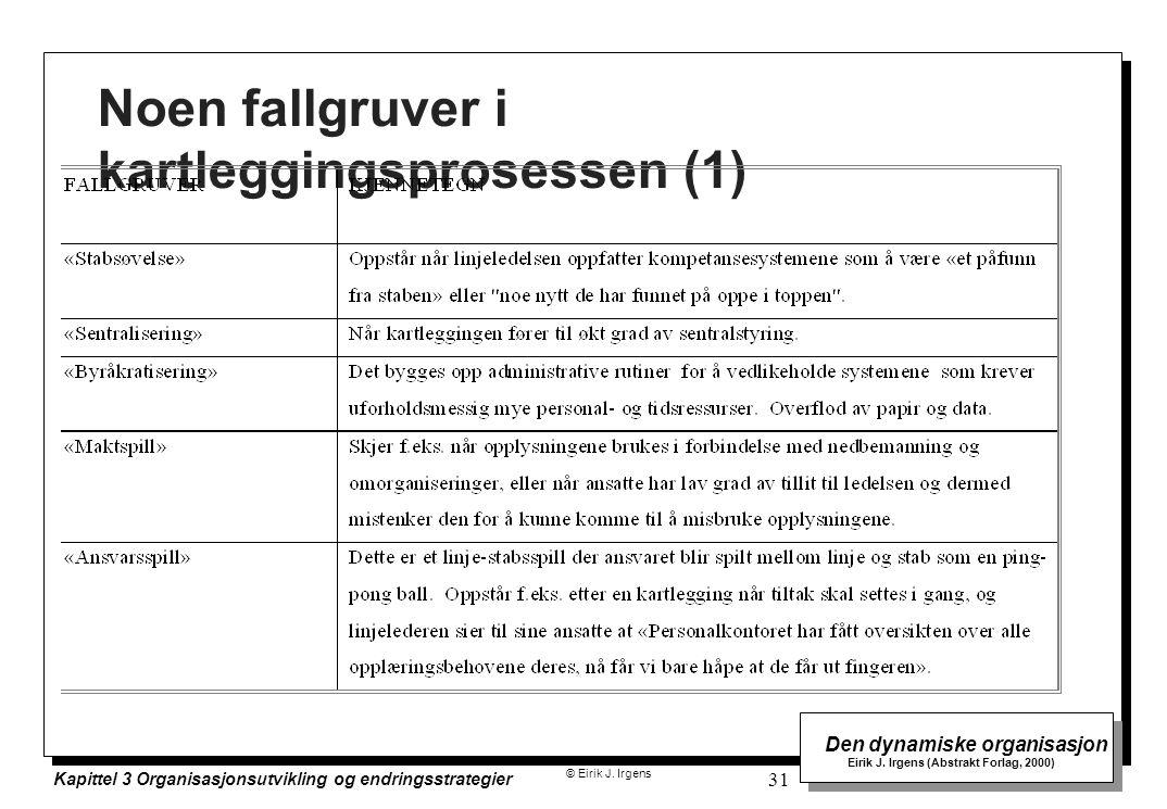 © Eirik J. Irgens Den dynamiske organisasjon Eirik J. Irgens (Abstrakt Forlag, 2000) Kapittel 3 Organisasjonsutvikling og endringsstrategier 31 Noen f