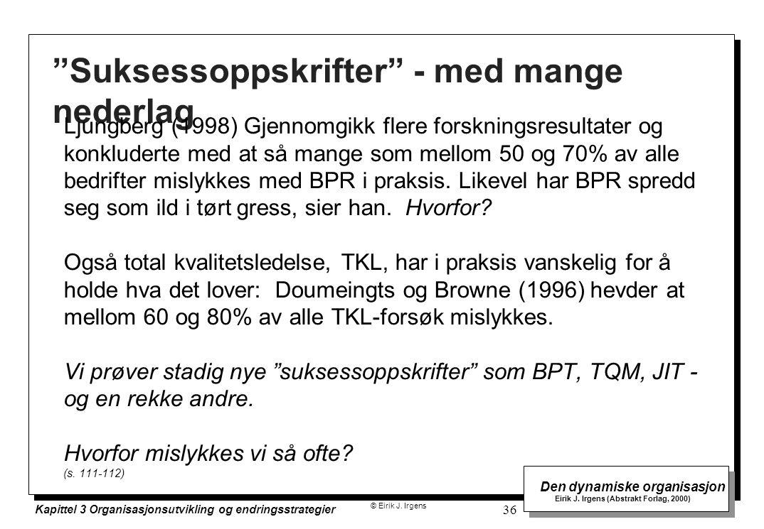 """© Eirik J. Irgens Den dynamiske organisasjon Eirik J. Irgens (Abstrakt Forlag, 2000) Kapittel 3 Organisasjonsutvikling og endringsstrategier 36 """"Sukse"""
