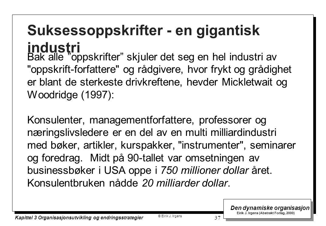 © Eirik J. Irgens Den dynamiske organisasjon Eirik J. Irgens (Abstrakt Forlag, 2000) Kapittel 3 Organisasjonsutvikling og endringsstrategier 37 Sukses