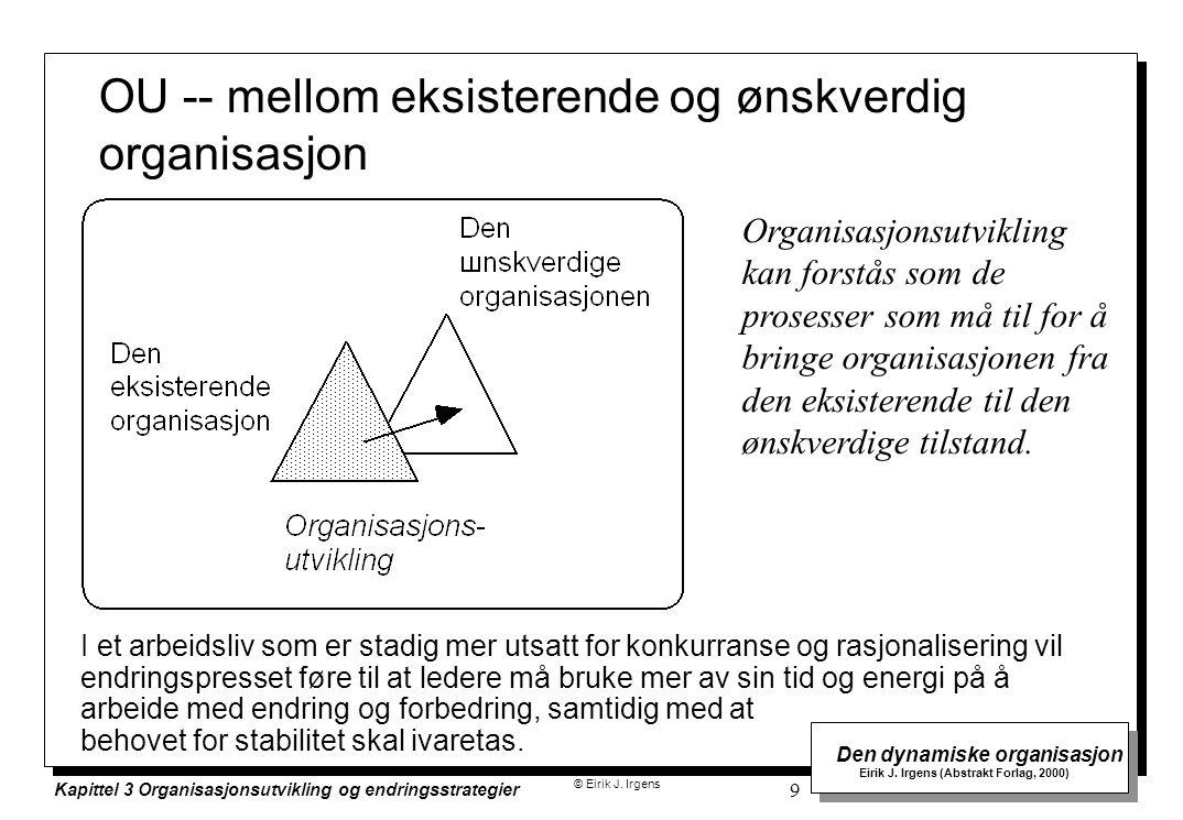 © Eirik J. Irgens Den dynamiske organisasjon Eirik J. Irgens (Abstrakt Forlag, 2000) Kapittel 3 Organisasjonsutvikling og endringsstrategier 9 OU -- m