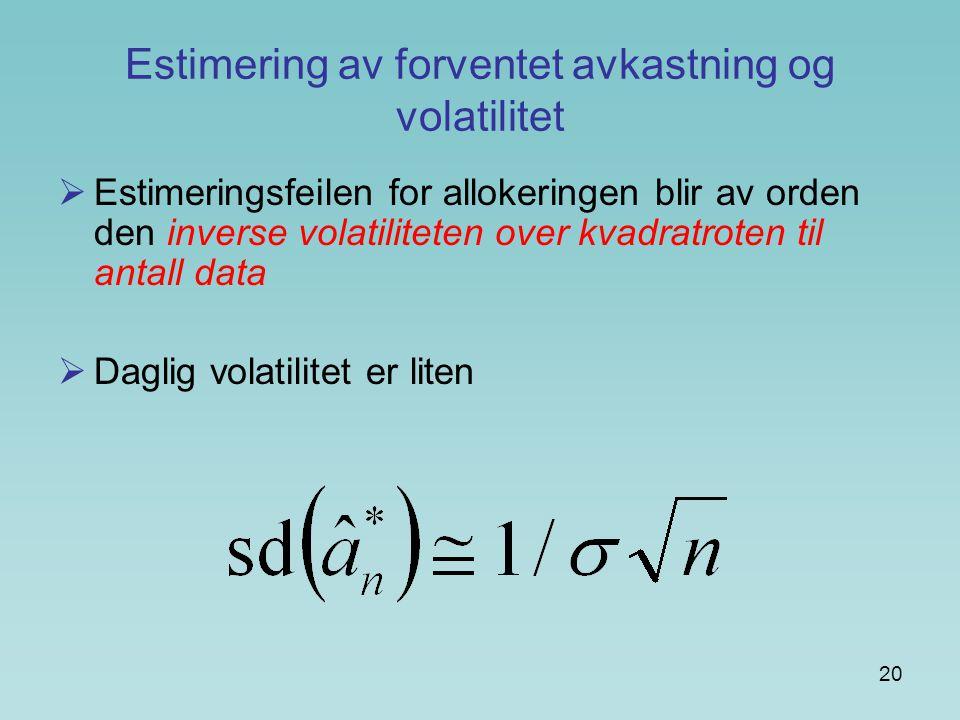 20 Estimering av forventet avkastning og volatilitet  Estimeringsfeilen for allokeringen blir av orden den inverse volatiliteten over kvadratroten ti