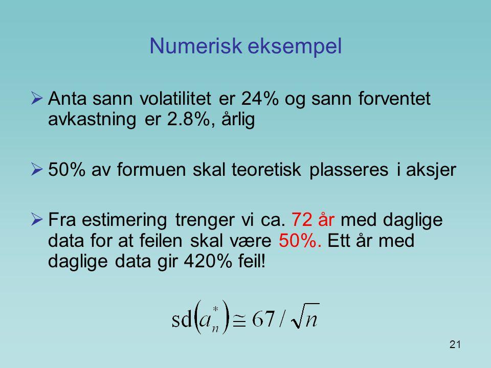 21 Numerisk eksempel  Anta sann volatilitet er 24% og sann forventet avkastning er 2.8%, årlig  50% av formuen skal teoretisk plasseres i aksjer  Fra estimering trenger vi ca.