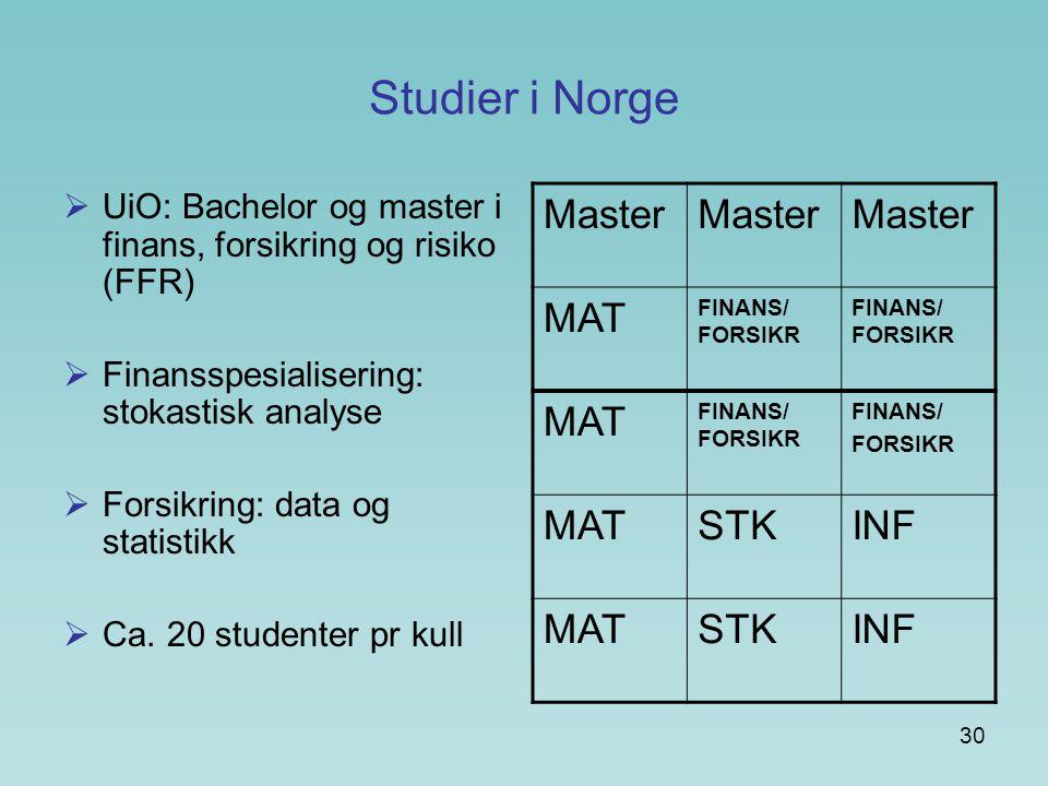 30 Studier i Norge  UiO: Bachelor og master i finans, forsikring og risiko (FFR)  Finansspesialisering: stokastisk analyse  Forsikring: data og statistikk  Ca.