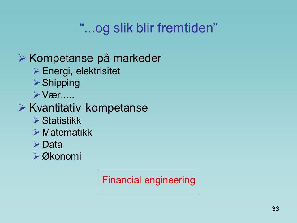 """33 """"...og slik blir fremtiden""""  Kompetanse på markeder  Energi, elektrisitet  Shipping  Vær.....  Kvantitativ kompetanse  Statistikk  Matematik"""
