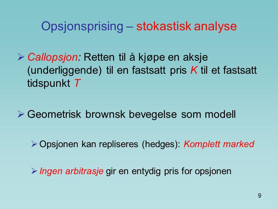 9 Opsjonsprising – stokastisk analyse  Callopsjon: Retten til å kjøpe en aksje (underliggende) til en fastsatt pris K til et fastsatt tidspunkt T  G