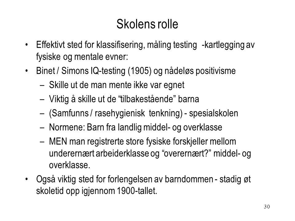 30 Skolens rolle Effektivt sted for klassifisering, måling testing -kartlegging av fysiske og mentale evner: Binet / Simons IQ-testing (1905) og nådel