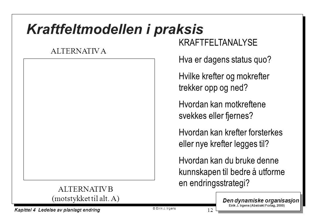 © Eirik J. Irgens Den dynamiske organisasjon Eirik J. Irgens (Abstrakt Forlag, 2000) Kapittel 4 Ledelse av planlagt endring 12 Kraftfeltmodellen i pra