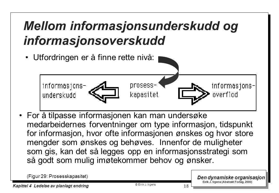 © Eirik J. Irgens Den dynamiske organisasjon Eirik J. Irgens (Abstrakt Forlag, 2000) Kapittel 4 Ledelse av planlagt endring 18 Utfordringen er å finne