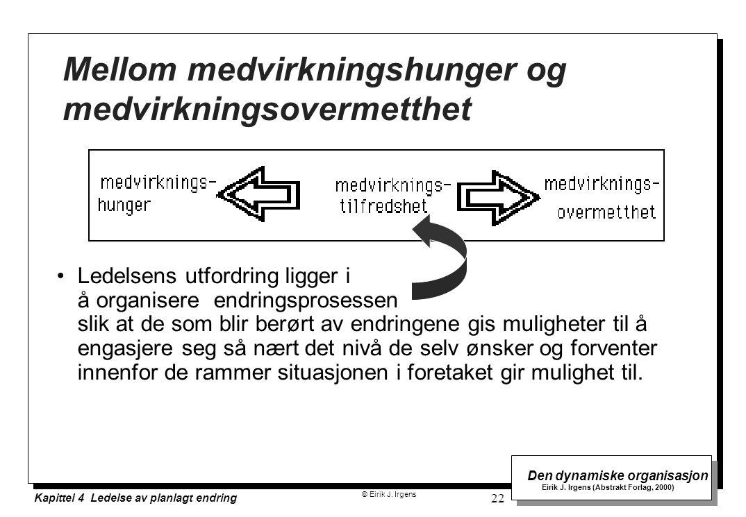 © Eirik J. Irgens Den dynamiske organisasjon Eirik J. Irgens (Abstrakt Forlag, 2000) Kapittel 4 Ledelse av planlagt endring 22 Mellom medvirkningshung