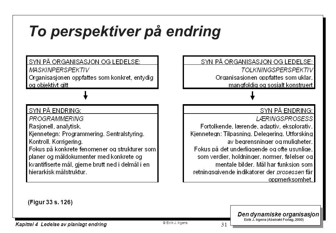 © Eirik J. Irgens Den dynamiske organisasjon Eirik J. Irgens (Abstrakt Forlag, 2000) Kapittel 4 Ledelse av planlagt endring 31 To perspektiver på endr