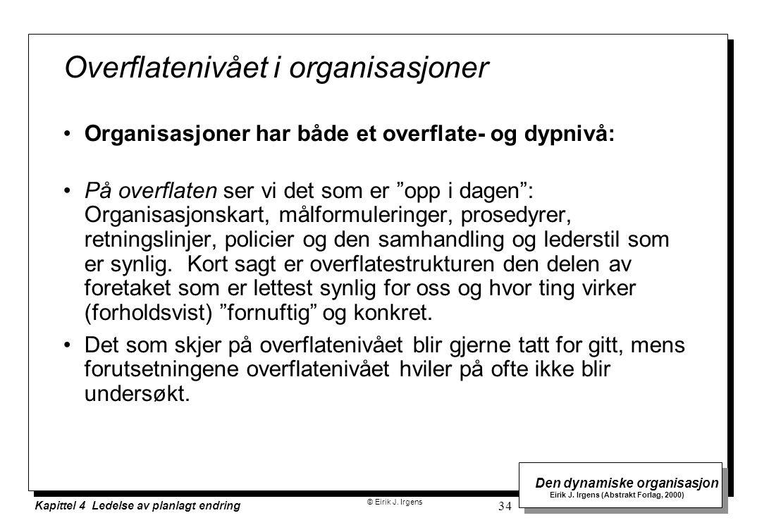 © Eirik J. Irgens Den dynamiske organisasjon Eirik J. Irgens (Abstrakt Forlag, 2000) Kapittel 4 Ledelse av planlagt endring 34 Overflatenivået i organ