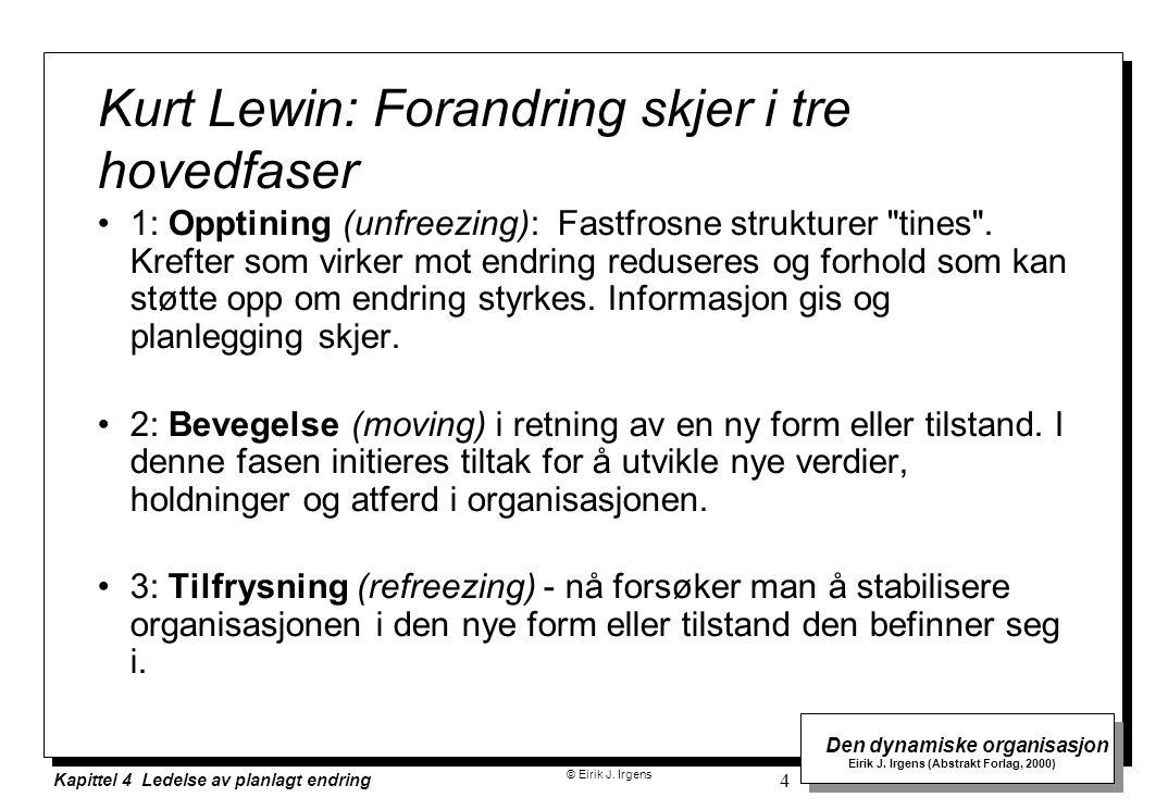© Eirik J. Irgens Den dynamiske organisasjon Eirik J. Irgens (Abstrakt Forlag, 2000) Kapittel 4 Ledelse av planlagt endring 4 Kurt Lewin: Forandring s