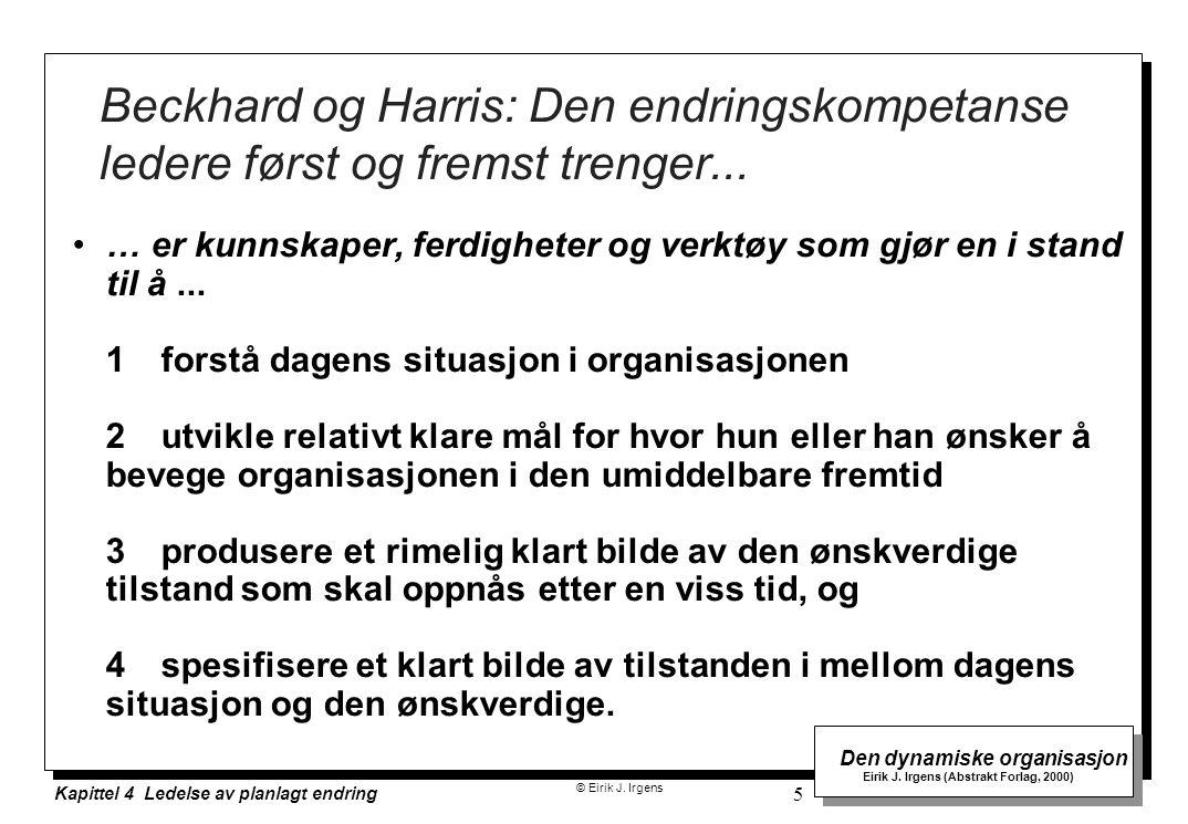 © Eirik J. Irgens Den dynamiske organisasjon Eirik J. Irgens (Abstrakt Forlag, 2000) Kapittel 4 Ledelse av planlagt endring 5 Beckhard og Harris: Den