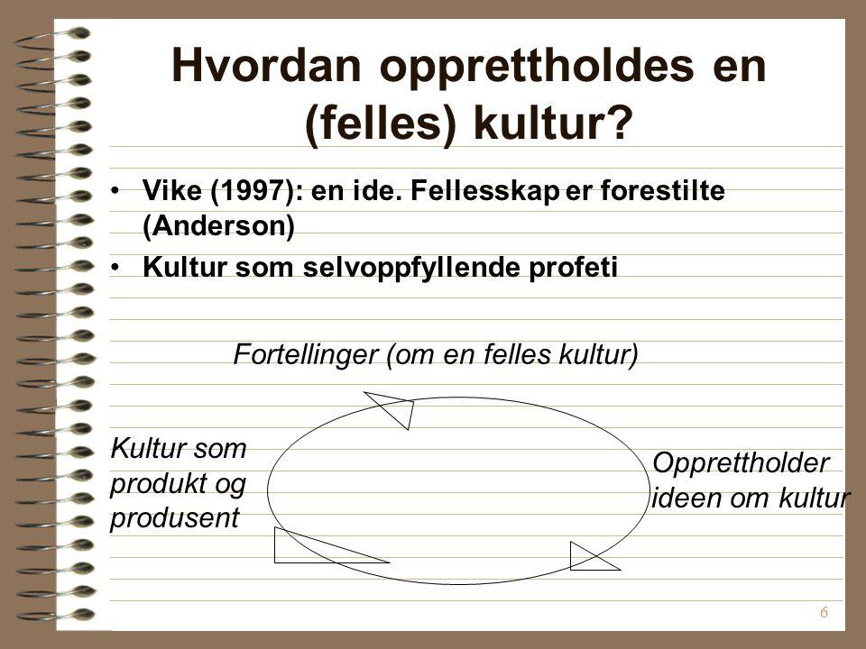7 Diskusjon: Finnes det en norsk kultur? Hva er i så fall typisk norsk?