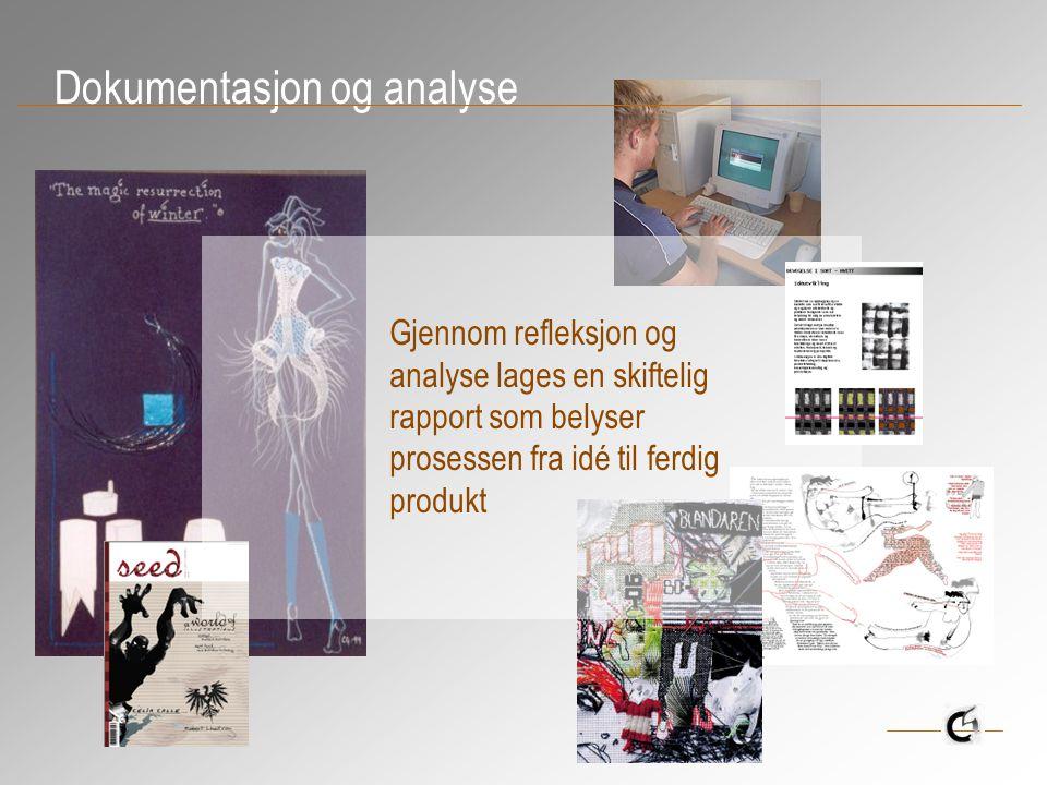 Dokumentasjon og analyse Gjennom refleksjon og analyse lages en skiftelig rapport som belyser prosessen fra idé til ferdig produkt