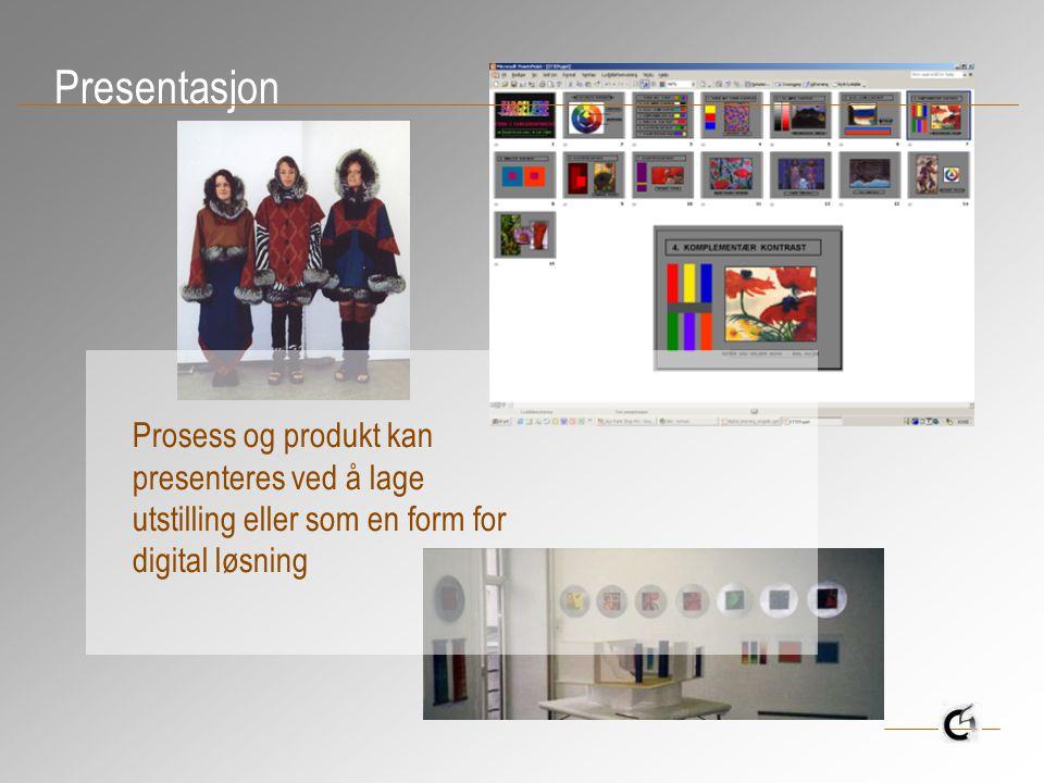 Presentasjon Prosess og produkt kan presenteres ved å lage utstilling eller som en form for digital løsning