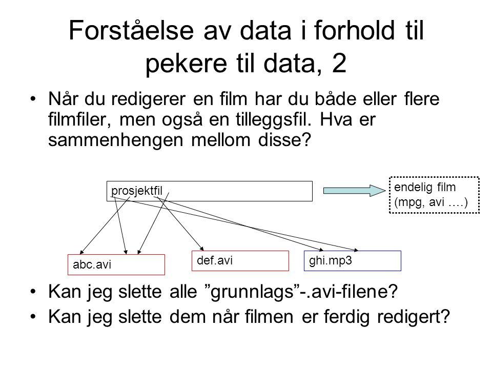 Forståelse av data i forhold til pekere til data, 2 Når du redigerer en film har du både eller flere filmfiler, men også en tilleggsfil. Hva er sammen