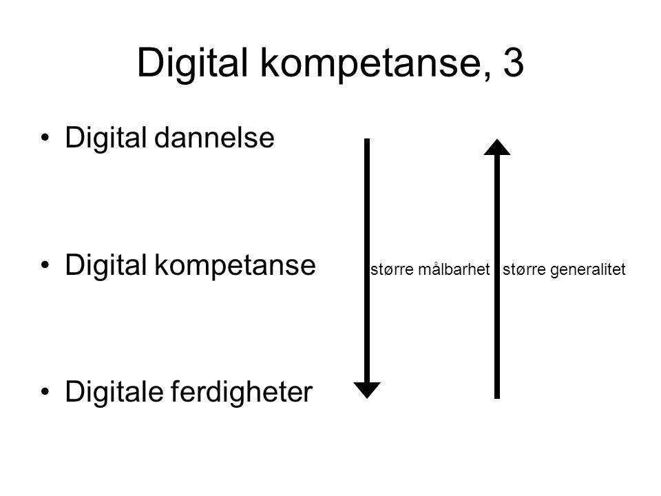 Digital kompetanse, 3 Digital dannelse Digital kompetanse større målbarhet større generalitet Digitale ferdigheter