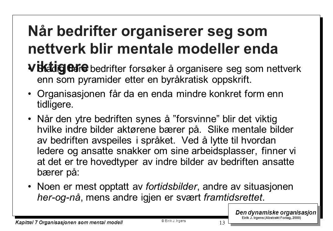 © Eirik J. Irgens Den dynamiske organisasjon Eirik J. Irgens (Abstrakt Forlag, 2000) Kapittel 7 Organisasjonen som mental modell 13 Når bedrifter orga