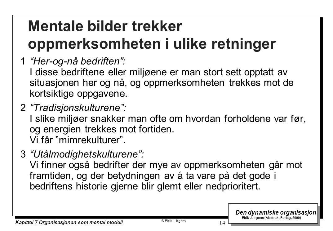 © Eirik J. Irgens Den dynamiske organisasjon Eirik J. Irgens (Abstrakt Forlag, 2000) Kapittel 7 Organisasjonen som mental modell 14 Mentale bilder tre