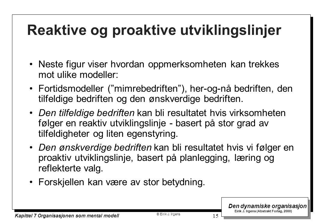 © Eirik J. Irgens Den dynamiske organisasjon Eirik J. Irgens (Abstrakt Forlag, 2000) Kapittel 7 Organisasjonen som mental modell 15 Reaktive og proakt