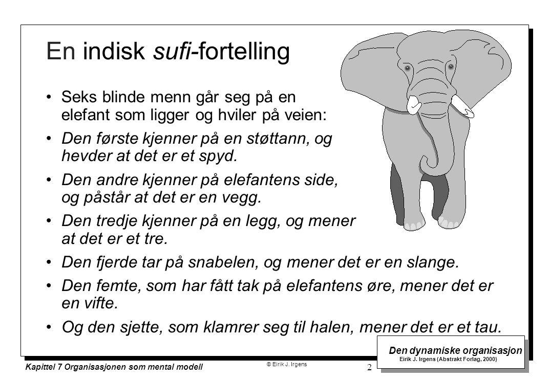 © Eirik J. Irgens Den dynamiske organisasjon Eirik J. Irgens (Abstrakt Forlag, 2000) Kapittel 7 Organisasjonen som mental modell 2 En indisk sufi-fort