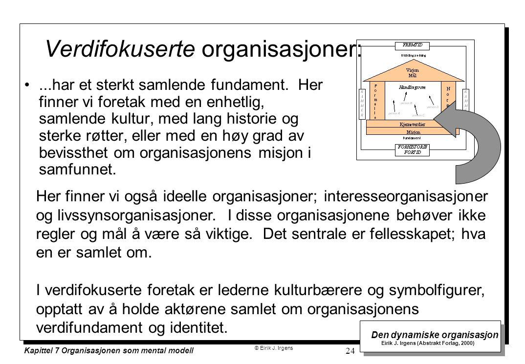 © Eirik J. Irgens Den dynamiske organisasjon Eirik J. Irgens (Abstrakt Forlag, 2000) Kapittel 7 Organisasjonen som mental modell 24 Verdifokuserte org