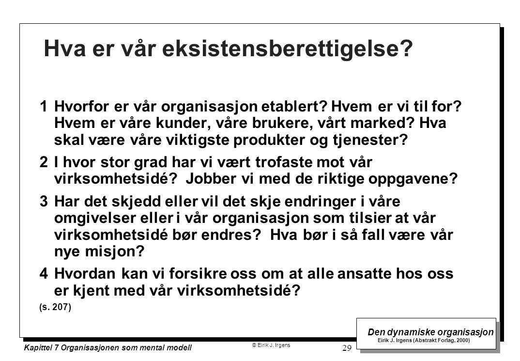 © Eirik J. Irgens Den dynamiske organisasjon Eirik J. Irgens (Abstrakt Forlag, 2000) Kapittel 7 Organisasjonen som mental modell 29 Hva er vår eksiste