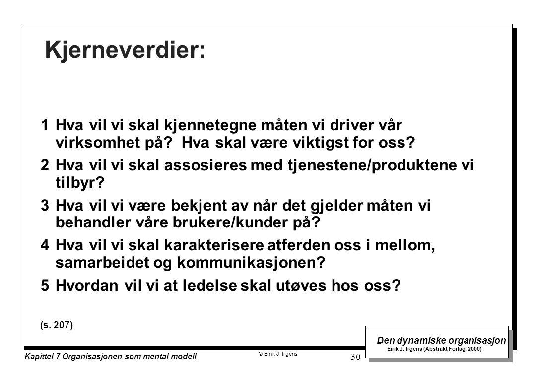 © Eirik J. Irgens Den dynamiske organisasjon Eirik J. Irgens (Abstrakt Forlag, 2000) Kapittel 7 Organisasjonen som mental modell 30 Kjerneverdier: 1Hv