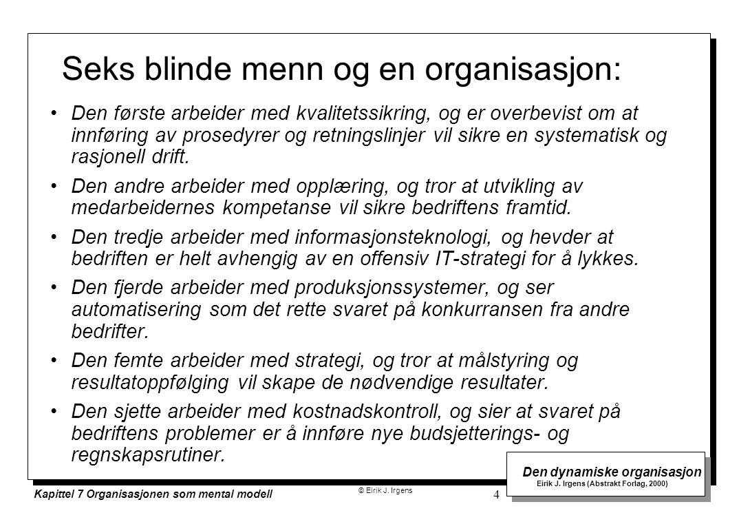 © Eirik J. Irgens Den dynamiske organisasjon Eirik J. Irgens (Abstrakt Forlag, 2000) Kapittel 7 Organisasjonen som mental modell 4 Seks blinde menn og