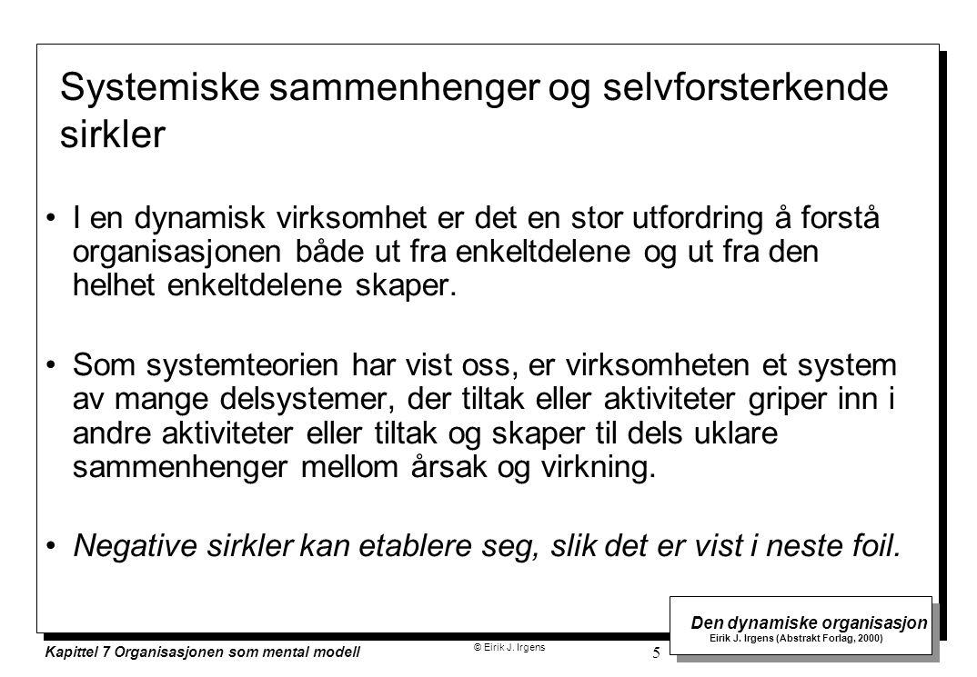 © Eirik J. Irgens Den dynamiske organisasjon Eirik J. Irgens (Abstrakt Forlag, 2000) Kapittel 7 Organisasjonen som mental modell 5 I en dynamisk virks