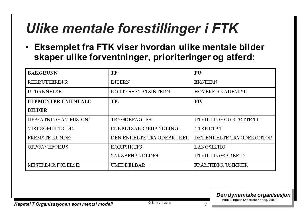 © Eirik J. Irgens Den dynamiske organisasjon Eirik J. Irgens (Abstrakt Forlag, 2000) Kapittel 7 Organisasjonen som mental modell 7 Ulike mentale fores