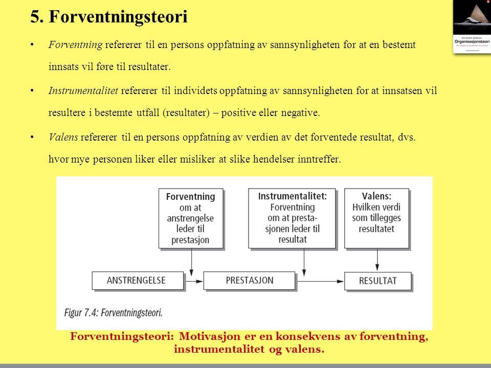 5. Forventningsteori Forventning refererer til en persons oppfatning av sannsynligheten for at en bestemt innsats vil føre til resultater. Instrumenta