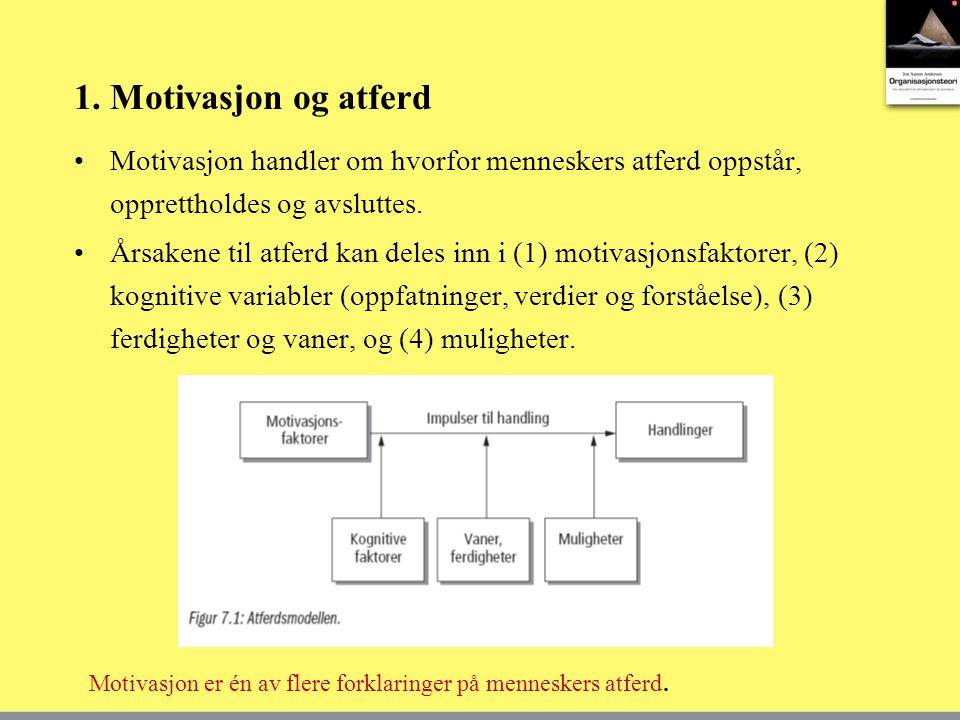 1. Motivasjon og atferd Motivasjon handler om hvorfor menneskers atferd oppstår, opprettholdes og avsluttes. Årsakene til atferd kan deles inn i (1) m