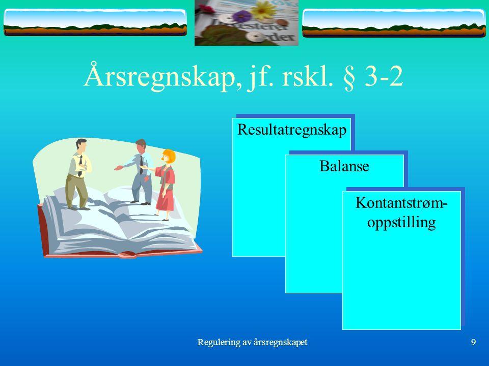 Regulering av årsregnskapet9 Årsregnskap, jf. rskl. § 3-2 Resultatregnskap Balanse Kontantstrøm- oppstilling Kontantstrøm- oppstilling